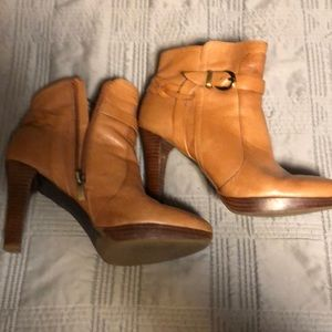 Camel color leather booties